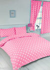 POLKA DOT PINK WHITE MODERN SPOTS ROUND REVERSIBLE BEDDING OR CURTAINS