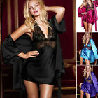 Women's Fashion Deep V-Neck Halter Lace Sleepwear Mini Short Dress+Gown&Belt Set