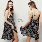 UK Women Ladies Celeb Sexy Backless Floral Summer Beach Bodycon Mini Party Dress
