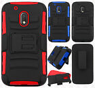 Motorola Moto G4 Play Combo Holster HYBRID KICKSTAND Rubber Cover +Screen Guard