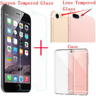 Lens Camera+Screen Tempered Glass Protector+Clear TPU Case For iPhone 7 /7 Plus