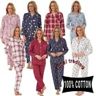 Ladies Winceyette Pyjamas 100% Cotton Womens brushed  Flannel Nightwear PJs Set