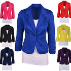 New Womens Ladies Candy Color Stylish Casual Slim Suit Jacket Blazer Top Outwear