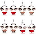 Sale Cute Women Eye Lip Face Crystal Rhinestone Pearl Drop Dangle Stud Earrings