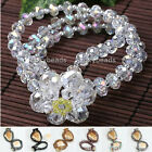 """6""""L Crystal Glass Flower Faceted Beads Wrap Charms Stretchy Bracelet Bangle"""