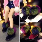Winter Warm Women Shoes Color Matching Fur Flat Heel Pull On Snow Ankle Boots