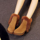 Winter Leather Fur Women Shoes Wedge Heel Chunky Heel Pull On Snow Ankle Boots