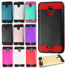 For Alcatel Fierce 4 Premium Brushed Metal HYBRID Rubber Case Snap Phone Cover