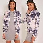 Womens Ladies Pretty Little Thing Floral Bomber Jacket Top Blouse Casual New