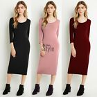 UK Womens Bodycon Long Sleeve Dress Ladies Party Evening Midi Dress Size S-XL