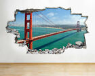 H239 Golden Gate Bridge San Fran Smashed Wall Decal 3D Art Stickers Vinyl Room