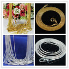"""Hot Silver&gold Plated 1.2mm Snake Chain Necklace 16""""-24'' Pick 10/20/50/100pcs"""