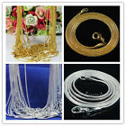 "Hot Silver&gold Plated 1.2mm Snake Chain Necklace 16""-24'' Pick 10/20/50/100pcs"