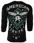 AMERICAN FIGHTER Mens LONG SLEEVE T-Shirt ABRAHAM Eagle BLACK Biker Gym UFC $54 image