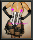 Corset Cupless Underbust Striped Lace up Back Fast Ship from NEW YORK Sz S-2X