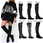 WOMENS LADIES KNEE THIGH HIGH LOW FLAT HEEL OVER THE KNEE SUEDE BOOTS SIZE