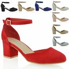 NEW WOMENS LOW MID BLOCK HEEL ANKLE STRAP BUCKLKE LADIES SANDALS COURT SHOES
