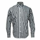 Relco White And Black Stripe Long Sleeve Button Down Mod 60's Shirt