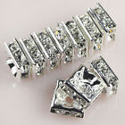5x5/6x6/8x8/10x10mm Silver Plated Czech Crystal Rhinestone Square Spacer Beads