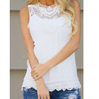 New Women Ladies Summer Vest Top Sleeveless Blouse Lace Loose Tank Tops T-Shirt