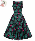 LADY VINTAGE 50s style HEPBURN PINK FLAMINGO DRESS BLACK