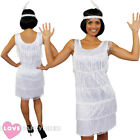 DELUXE WHITE FRINGE FLAPPER FANCY DRESS ADULT CHARLESTON COSTUME 1920'S 1930'S