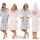 Womens/Ladies Sherpa Fleece Heart Hooded Dressing Gown Bath Robe Size 8-18