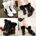 Fashion Womens Shoes Winter Warm Fur Snow Boots Lace Up Mid Calf Ankle TXST
