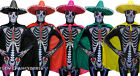 MENS DAY OF THE DEAD COSTUME SKELETON SKINSUIT SOMBRERO HAT AND CAPE FANCY DRESS
