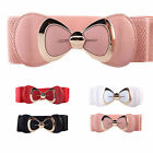Women Stylish Bowknot Buckle Waistband Wide Elastic Stretch Waist Belt