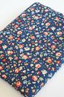 100% Brushed Cotton Fabric Red Pink Yellow Flowers Birds Navy Blue