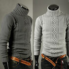 Popular Men's Winter Slim Solid Turtleneck Knit Pullover Warm Sweater  2 Colors