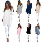 Chic Women Knitted V Neck Long Sleeve Jumper Pullovers Blouse Pure T-shirt Tops