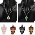 Reiki Carved Gemstone Angel Healing Point Chakra Dangle Pendant For Necklace DIY
