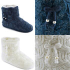 Slumberzzz Women's Lurex Cable Knit Bootie Slippers