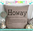 PERSONALISED GEORDIE 'HOWAY' NOUN CANVAS CUSHION NEWCASTLE CHRISTMAS PHRASE GIFT