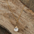 Rose Quartz Drop 14k Goldfill Initial Necklace