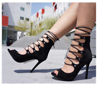 black lace heel - BLACK LACE UP SUEDE HIGH HEELS STILETTO  FASHION SINGLE SOLE NEW HOT