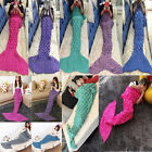 Xmas Kid Adult Mermaid Fish Tail Blanket Crocheted Knitted Bed Sofa Sleeping Bag