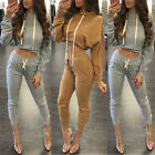 Casual Women Two Pieces Set Hooded Long Sleeve Cropped Tops + Tunic Long Pants