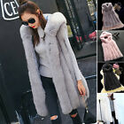 Warm Gilet Outwear Long Slim Vest Faux Fur Waistcoat Hooded Jacket Coat Women