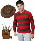 Mens Freddy Red & Green Stripe Knitted Jumper Explorer Hat Hand Claw Glove Adult