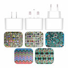 ANGELO CERANTOLA PATTERNS WHITE UK CHARGER & USB CABLE FOR APPLE iPHONE PHONES
