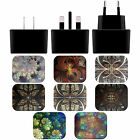 ANDI GREYSCALE KALEIDOSCOPE BLACK UK CHARGER & MICRO-USB CABLE FOR SAMSUNG 2