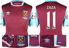 16 / 17 - UMBRO WEST HAM UNITED HOME SHIRT SS + PATCHES ZAZA 11 = KIDS SIZE