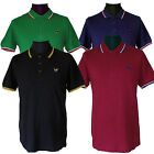 Warrior Vintage Slim Fit Polo Shirt Hemd Cotton Tipped Schwarz Blau Oxblood Grün