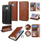 Genuine Leather Magnetic Wallet Card Flip Case Cover For Samsung Galaxy S6