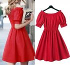 2016 Autumn Style Collar Shorts Sleeve Dress Beach Women Dress Red