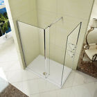 L Shape Wet Room Shower Enclosure Tray Waste Walk in Cubicle Fixed Return Panel
