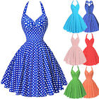Ladies 50s Vintage Style Halter Classic Full Circle Swing PARTY Dress